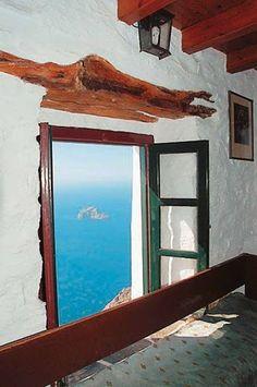 GREECE...BALCONY IN AEGEAN SEA.