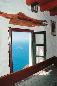GREECE...BALCONY IN AEGEAN SEA.