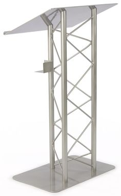Truss Podium for Floor, Cup Holder, Aluminum and Steel  - Silver