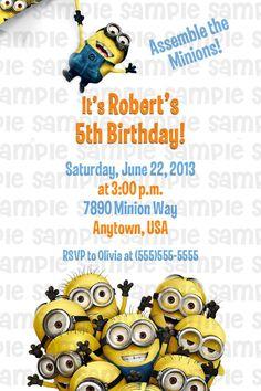 Despicable Me Birthday Invitation $11