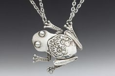 Silver Spoon Jewelry: Vintage Spoon and Fork Jewelry: Tree Frog Spoon Necklace
