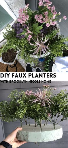 DIY FAUX PLANTERS Make your front porch spring ready with this realistic DIY faux planter hack. Fake plants that look real Faux Outdoor Plants, Plants For Planters, Fake Potted Plants, Outside Planters, Front Porch Planters, Porch Plants, Fake Plants Decor, Outdoor Flowers, Faux Plants
