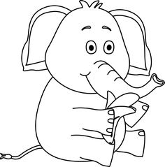Black and White Elephant Eating a Banana Clip Art - Black and ...