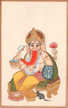 Ganesha Painting Indian Hindu Hand Painted Paper Watercolor Ganesh Religious Art Painted Paper, Hand Painted, Ganesha Pictures, Ganesha Painting, Batik Art, Lord Ganesha, Religious Art, Country Of Origin, Handmade Art