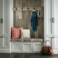 Mudroom built in Laminate flooring installed on the wall can create a unique visual and coordinate with your other flooring. From the Architectural Remnants collection, this laminate in Seaside Pine - Dockside, works well in this cozy mudroom entryway. Mudroom Laundry Room, Bench Decor, Wall Decor, Bench Seat, Diy Design, Interior Design, Design Ideas, Armstrong Flooring, Entryway Decor