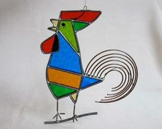 Vintage Stained Glass Rooster Sun Catcher Large 6.5 by ClockWinder