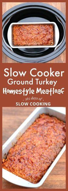 slow cooker ground turkey homestyle meatloaf recipe #crockpot