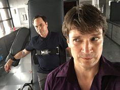 Castle finale BTS; They joke, but this scene was so fricken sad when Castle was strapped in and was forced to tell Loksat who knew about him.