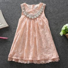 Ivory Pink Lace Pearl Sequins doll Collar Girls dress Beautiful 5piecs/lot hot sale-in Dresses from Mother & Kids on Aliexpress.com | Alibaba Group