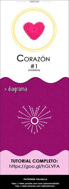 Corazón de Crochet #1 (mediano) | PATRONES VALHALLA // Patrones gratis de ganchillo