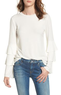 Ruffle Sleeve Ribbed Sweater