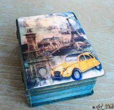 Wooden jewelry box decoupage box vintage car Retro car by ArtDidi