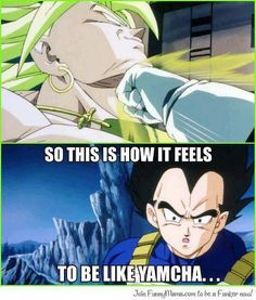 Vegeta - kinda summarises his place in the eighth movie. I guess everyone gets the chance to feel like Yamcha once in a while.