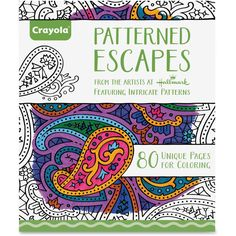 Crayola Patterned Escapes Coloring Book Coloring Printed Book Patterned Escapes coloring book offers soothing scenes for adults and children alike to color. Lose yourself in a complex-but-relaxing coloring art activity with these captivating, bold and colorful images. It includes 80 detailed art patterns on high-quality paper.   CYO992022 | formydesk.com