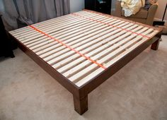 DIY hand-built king-sized wood platform bed - see post for construction and finishing details Diy Frame, Diy Wood Bed Frame, Diy Queen Bed Frame, Bed Frames, King Size Bed Frame, Bed Slats, King Platform Bed Frame, Queen Size Platform Bed, Platform Beds