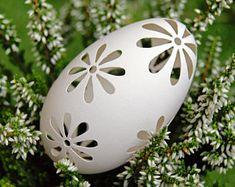 Eggshell of Polish goose - handmade sculpted - transparent easter carved egg ornament decoration unique gift pysanka ażurowa pisanka Carved Eggs, Unique Gifts, Handmade Gifts, Eggshell, Sculpting, Easter, Polish, Carving, Ornaments
