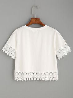 4662673017d White Crochet Trim Crop T-shirt Связанная Крючком Отделка
