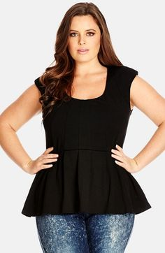 City+Chic+Ponte+Panel+Peplum+Top+(Plus+Size)+available+at+#Nordstrom