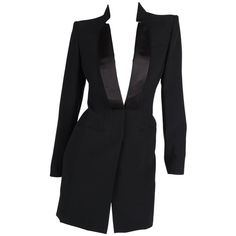 Preowned Alexander Mcqueen Tuxedo Dress - Black (595 CHF) ❤ liked on Polyvore featuring dresses, black, evening dresses, knee-length dresses, pocket dresses, knee length evening dresses, satin evening dress and long sleeve evening dresses