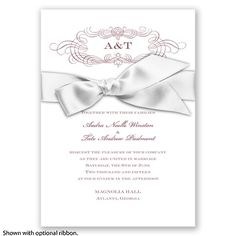 Down The Aisle - Rosewood - Invitation