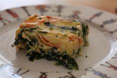 Clafoutis salé d'épinards au saumon ; épinards 2 tranches saumon fumé 25cl lait 50g farine 50g ricotta 20 beurre 3 œufs sel poivre