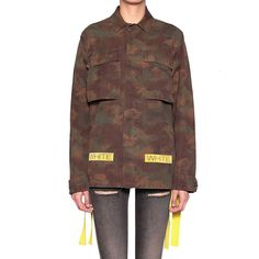 Off White Giacca camouflage scritte White ($949) ❤ liked on Polyvore