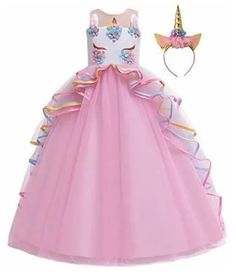 MYRISAM Unicorn Princess Costume Birthday Pageant Party Dance Performance Carnival Long Maxi Tulle Fancy Dress Up Outfits Pink Unicorn Dress Girls, Girl Unicorn Costume, Unicorn Clothes, Costume Prince, Princess Costumes, Girl Costumes, Birthday Dresses, Wedding Party Dresses, Unicorn Fashion