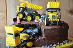 We did this cake for Bennett.  Construction party has some cute ideas.