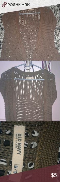Knit short sleeve vest from old navy In good condition, only worn a few times. Color is brown but almost a dark olive green. Old Navy Sweaters