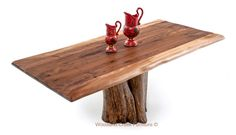 Natural Tree Stump Table with Walnut Slab Top