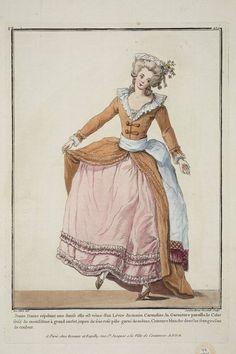 1782 Jeune Dame répétant une danse elle est vétue d'un Lévite du matin Carmelite, la Garniture pareille, le Colet frisé de mousseline à grand ourlet, jupon de soie rose pâle garni de même, Ceinture blanche dont les franges sont de couleur.