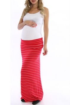Red-White-Striped-Maxi-Maternity-Skirt