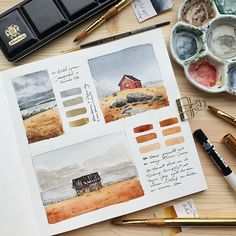 Artist Shares Beautiful Watercolor Studies of Landscapes From Her Sketchbooks Take a peek inside this watercolor artist's beautiful sketchbooks. Arte Sketchbook, Watercolor Sketchbook, Watercolor Artists, Watercolor Illustration, Watercolor Paintings, Watercolor Books, Watercolor Bookmarks, Watercolor Landscape, Abstract Watercolor