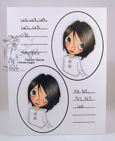 Hair Color - Copic Markers - #17 & 18 in order colored: Top: W9-W7-W5-W3-W1; Bottom: 100-N9-N7-N5-N3