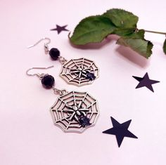 Excited to share this item from my #etsy shop: Spider web Earrings, Spooky Jewelry, Gothic Accessories, Witchy Earrings, Halloween Style, Dark Academia Spider Earrings, Stud Earrings, Orange Phone, Black Lace Choker, Ribbon Choker, Gothic Accessories, Halloween Fashion, Cute Packaging, Gothic Fashion