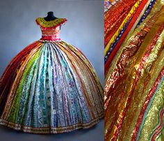 """""""Trashion"""" ~ Stunningly beautiful dress is made entirely from candy wrappers! From the collection of Finnish artist Virpi Laukkanen, Vėesanen. Paper Fashion, Fashion Art, Fashion Show, Fashion Design, Style Fashion, Recycled Dress, Recycled Art, Recycled Clothing, Carnaval Costume"""