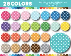 Star pattern circles clipart in 28 colors, CL-1499