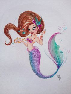 Liana Hee Mermaid Grotto | Rapunzel 8x10 Gouache on watercolor paper