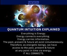 QUANTUM INTUITION EXPLAINED. Everything is Energy. Energy connects everything. Energy carries information. The past, present & future all exist simultaneously. Therefore, as energetic beings, we have access to the past present & future at any point in time. Energetically... All Ss Connected <3 Just Go, Like You, Want You, Told You So, Wind Of Change, Indigo Children, Third Eye Awakening, Wedding Locations, Intuition