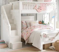 Perfect for kids who have to share a space.  Now if there's storage under the stairs this is genius Fillmore Stair Loft Bed & Lower Bed Set