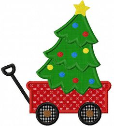 Instant Download Christmas Wagon Tree  Applique Machine Embroidery Design NO:1245