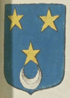 Jean-René PAVIN, Escuier, Sieur de la Resnière. Porte : d'azur, à trois étoiles d'or, deux en chef et une en pointe, celle-ci soutenue d'un croissant d'argent   N° 117