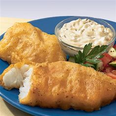 Beer Battered Cod is served with Tarter Sauce and Cole Slaw and Fruit Salad.  Followed by Brownies, this meal is sure to please.
