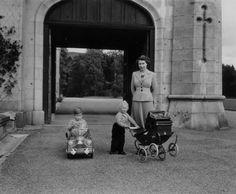 Queen Elizabeth with her two elder children.