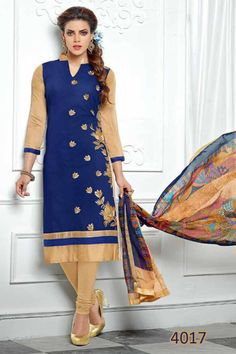 f7d2e09be77 KING SALES NEW LATEST BEAUTIFUL CREAM AND NAVY BLUE EMBROIDERED PARTY WEAR  SUITS ..TOP
