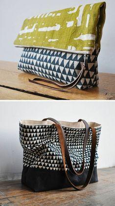 sac en toile avec motigs géométriques
