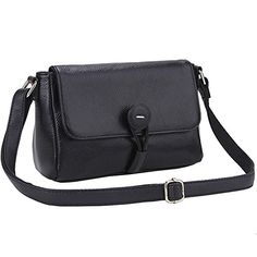Lecxci Real Leather Crossbody Shoulder Wallets Purses Messenger Bags for Women Black *** Visit the image link more details.