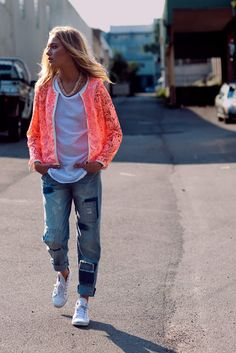 Boyfriend jeans and neon lace.