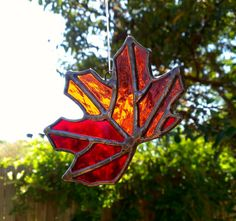 Fall Leaf Stained Glass Sun Catcher Autumn by JBsGlassHouse