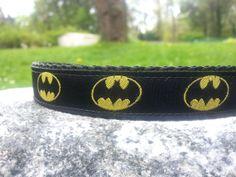 Batman Black 3/4 Inch Width Dog Collar by WillyWoofs on Etsy, $17.00